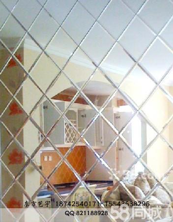 烤漆玻璃茶鏡背景墻菱形鏡拼鏡藝術玻璃彩雕