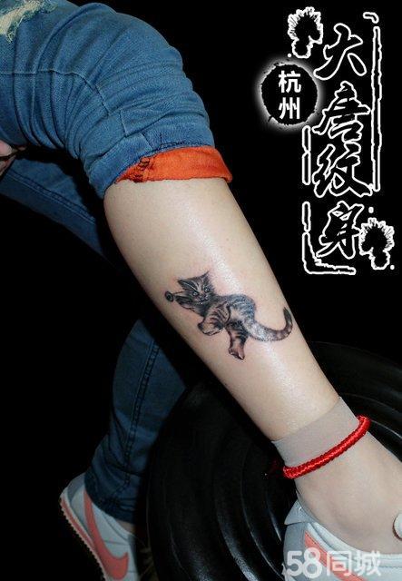 小腿纹身 猫咪纹身 纹身图案 纹身图片
