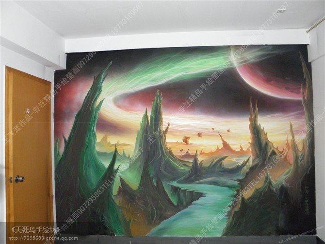 手绘墙画-魔兽世界场景手绘壁画-天涯鸟