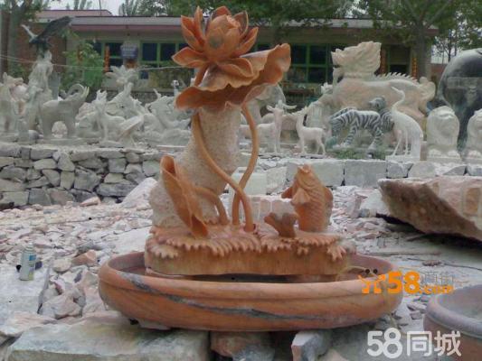 荷花盆景红石荷花雕刻鲤鱼荷花