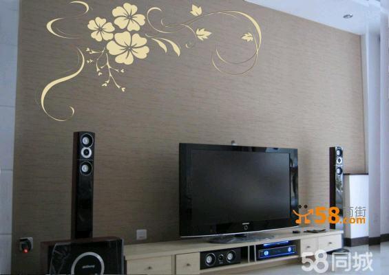硅藻泥; 而电视机正好能够嵌入到中间图片