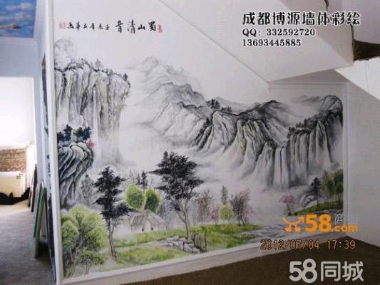 成都彩绘艺术精品--中式山水画